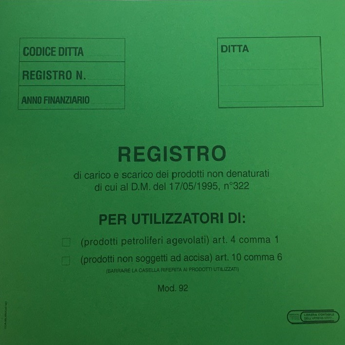 registro carico scarico dei prodotti non denaturati in